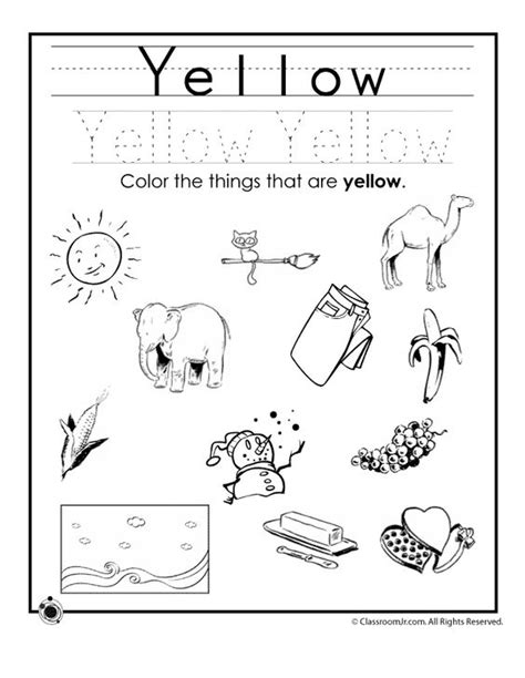 learn primary colors 019 learning colors worksheets for preschoolers color yellow