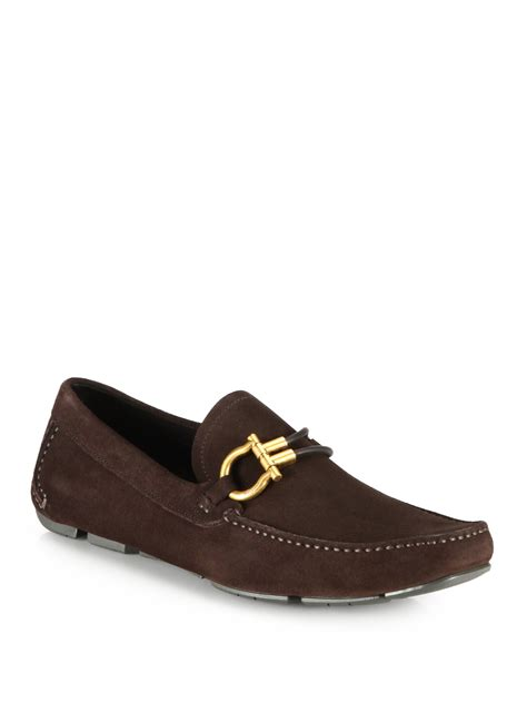 ferragamo loafers ferragamo suede driving loafers in brown for