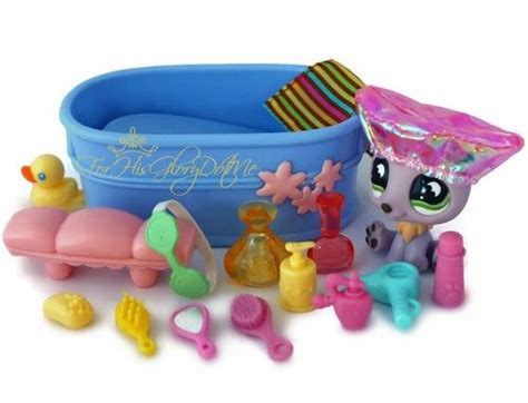 lps bathroom littlest pet shop lps 16 pc polar bear bath set lot tub