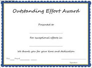 award certificate templates for outstanding effort award certificate template sle