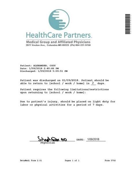 Emergency Note Medical In 2019 Jr Doctors Note