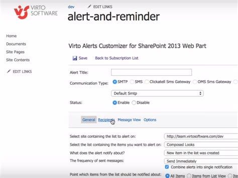 sharepoint 2007 workflow email notifications sharepoint alerts and reminders web part via email sms