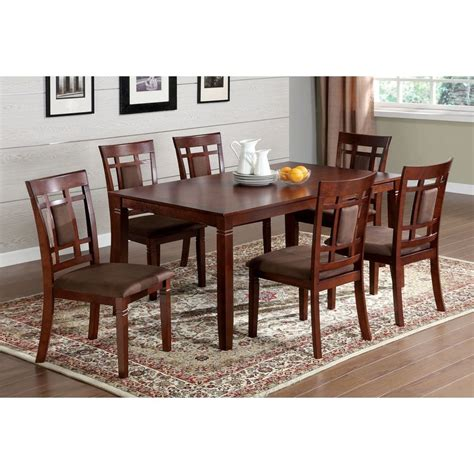 Cherry Kitchen Table Sets Shop Furniture Of America Montclair Cherry Dining Set With Rectangular Dining Table At