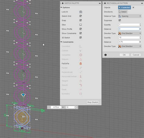 pattern decorator validation linear pattern from sketch projecting to surface