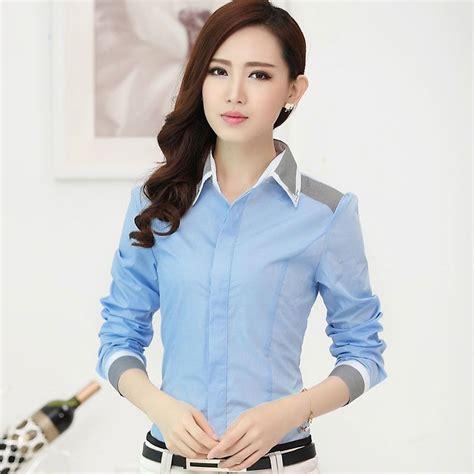 Ba30270 Cotton Blousebaju Import Chinablouse Kerja Wanita new fashion clothes stripe color block formal shirt work wear s sleeve