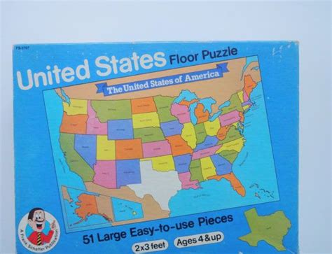 Usa Floor Puzzle by Vintage United States Floor Puzzle 1988 Vintage Etsy