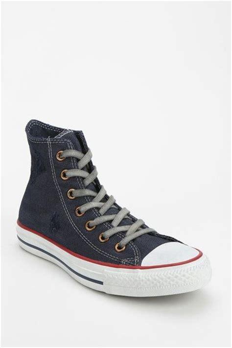 Converse Navy Denim outfitters converse chuck denim womens hightop sneaker in blue navy lyst