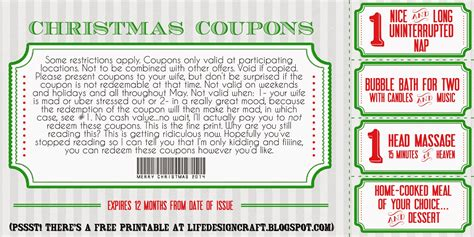 printable xmas coupons life design and the pursuit of craftiness christmas