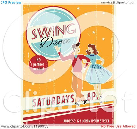swing dance poster clipart of a retro distressed swing dance poster with