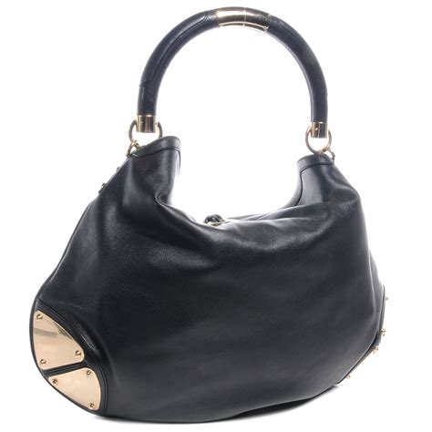 Gucci Rust Indy Large Top Handle Bag by Gucci Leather Large Indy Top Handle Bag Black 60000