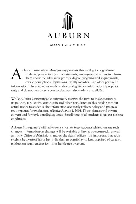 Auburn Acceptance Letter Auburn At Montgomery Grad Catalog 2014 2016