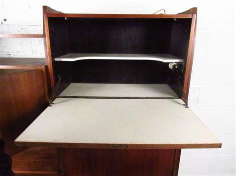 drop down writing desk mid century wall unit with drop down writing desk for sale