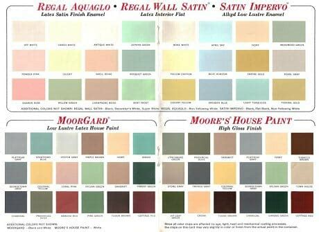 60 colors from Benjamin Moore's 1969 paint palette   Retro
