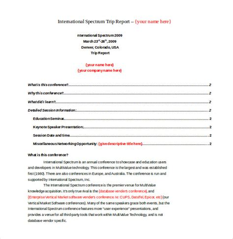conference summary report template trip report template 11 free word pdf documents free premium templates
