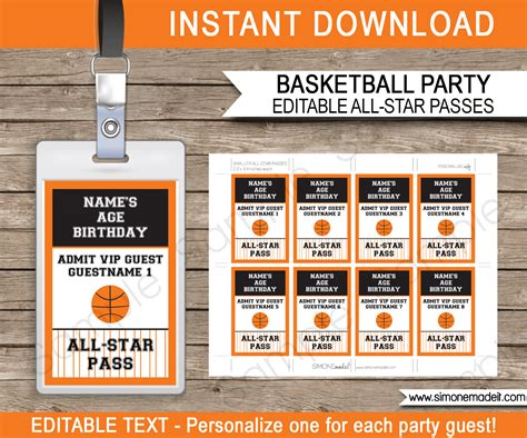 guest pass card template basketball all vip passes template favors