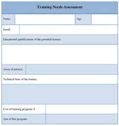 need assessment template sle needs assessment form
