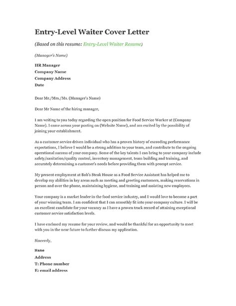 cover letter exles for entry level cover letter for food service professional food service