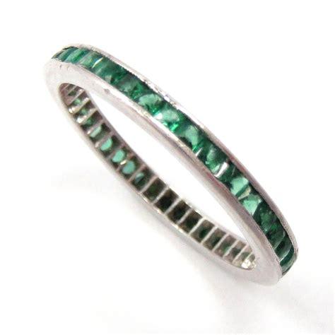 wedding band eternity ring platinum cut emerald