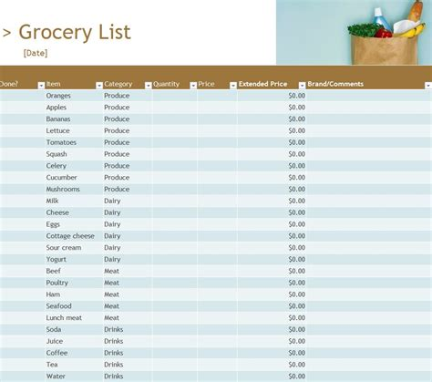 grocery inventory list template grocery inventory list grocery inventory list template