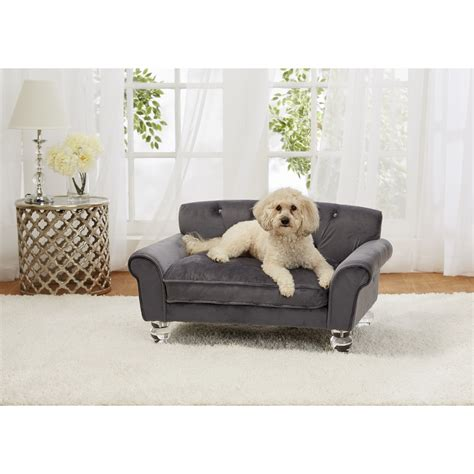 sofa pet enchanted home pet la joie velvet dog sofa with cushion