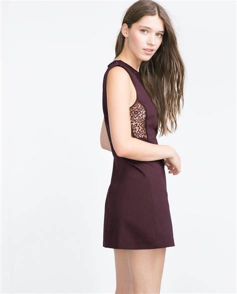 Dress Zara 7 zara lace dress in aubergine lyst