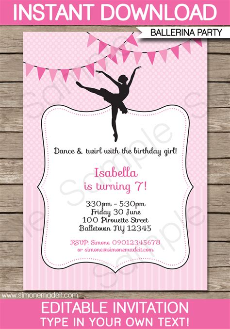 printable themed party invitations ballerina party invitations template birthday party