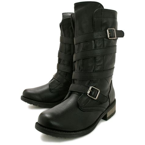 Buy Foxxy Flat Calf Biker Boots Black Leather Style