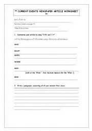 Reading News Article Worksheet - ESL worksheet by zinminkyaw