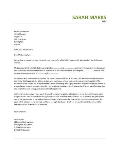 Cook Cover Letter – SAMPLE COVER LETTERS : Cover Letter for a Cook