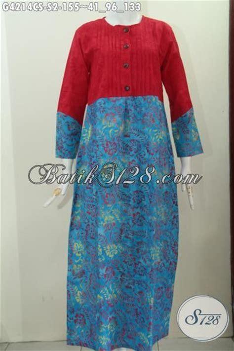 Longdress Batik Merah dress batik desain mewah perpaduan warna merah dan