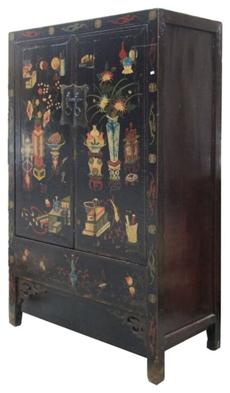 Japanese Wardrobe by Lacquer Color Vase Graphic Armorie Storage Cabinet