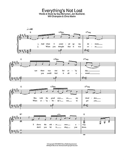 free download mp3 coldplay everything s not lost everything s not lost sheet music by coldplay easy piano