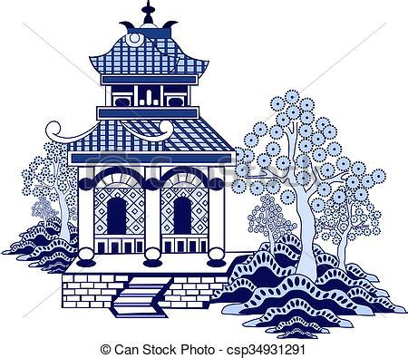 willow pattern drawing stock illustration of willow pattern house csp34931291