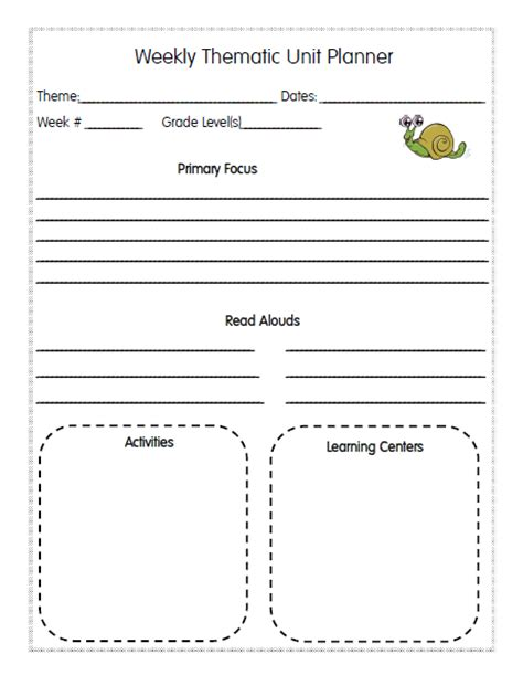 thematic lesson plan template homeschool lesson planner pages