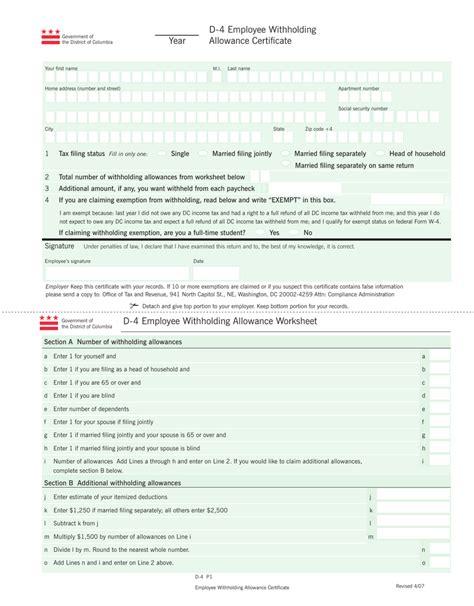 Nc 4 Allowance Worksheet by Nc 4 Allowance Worksheet Deployday