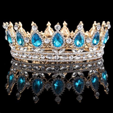 luxury sparkling princess king crown gold silver