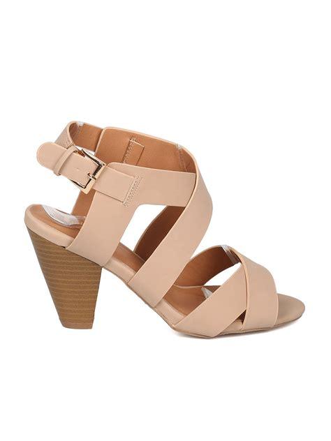 Chunky Heel Peep Toe Sandals shoes qupid gg86 nubuck peep toe strappy chunky heel