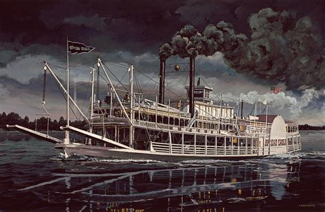 spread eagle steamboat night painting by don langeneckert - Steamboat Art