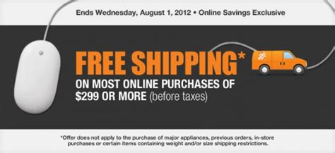 homedepot free shipping home depot canada free shipping for online purchase of