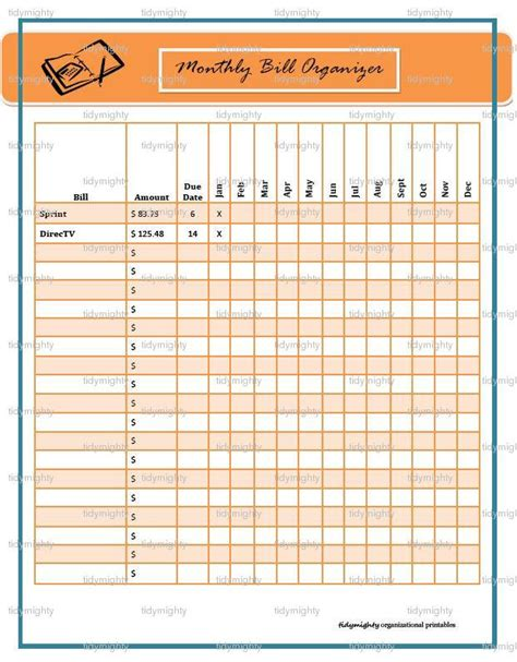 monthly bill template monthly bill organizer tracker printable pdf instant
