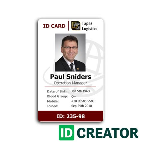 employees identity card template professional employee id card from idcreator
