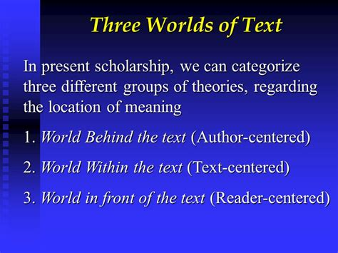 behind meaning three world of the text ppt download