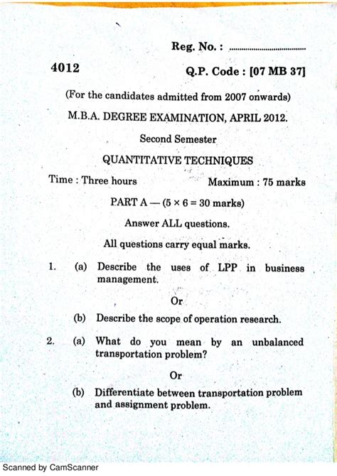 Quantitative Techniques Notes For Mba by Quantitative Techniques Question Paper Mba Apl 12