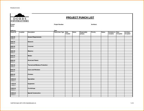 Excel Templates For Construction Project Management And Construction Project Punch List Template Construction Project Documentation Template