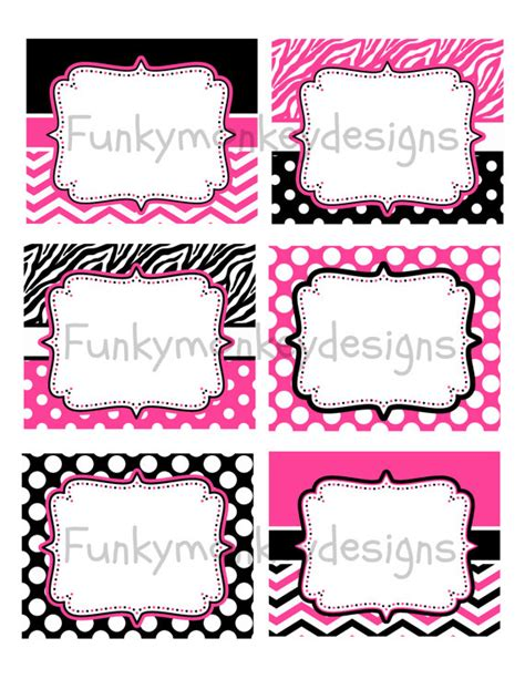 printable zebra labels diy instant download minnie mouse inspired birthday party