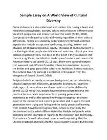Cultures Essay by Sle Essay On A World View Of Cultural Diversity