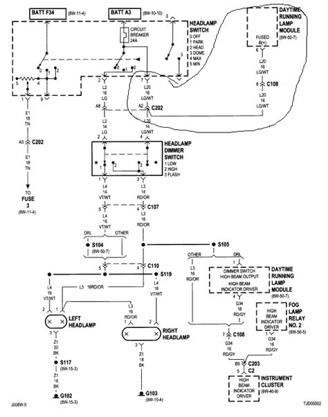 jeep wrangler tj light wiring diagram wiring