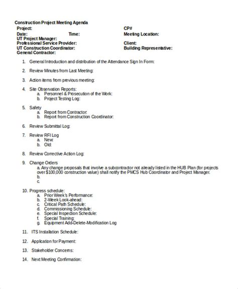 pre construction meeting agenda template gallery