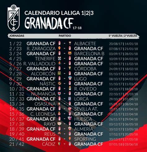 Calendario 2018 Granada As 237 Es El Calendario Granada Cf Para La Temporada 2017