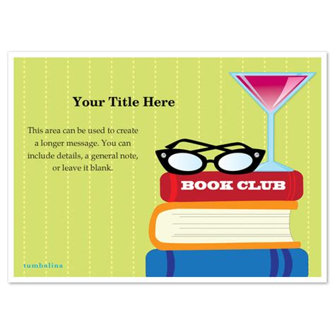 book club invitation template book club martini invitations cards on pingg